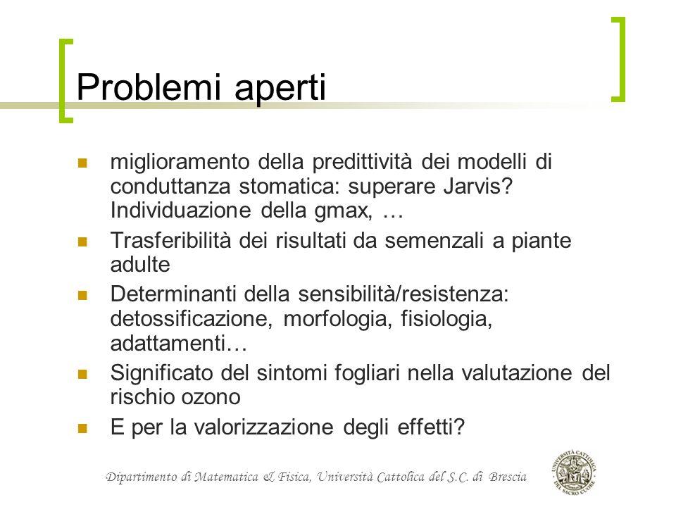 Problemi aperti miglioramento della predittività dei modelli di conduttanza stomatica: superare Jarvis Individuazione della gmax, …
