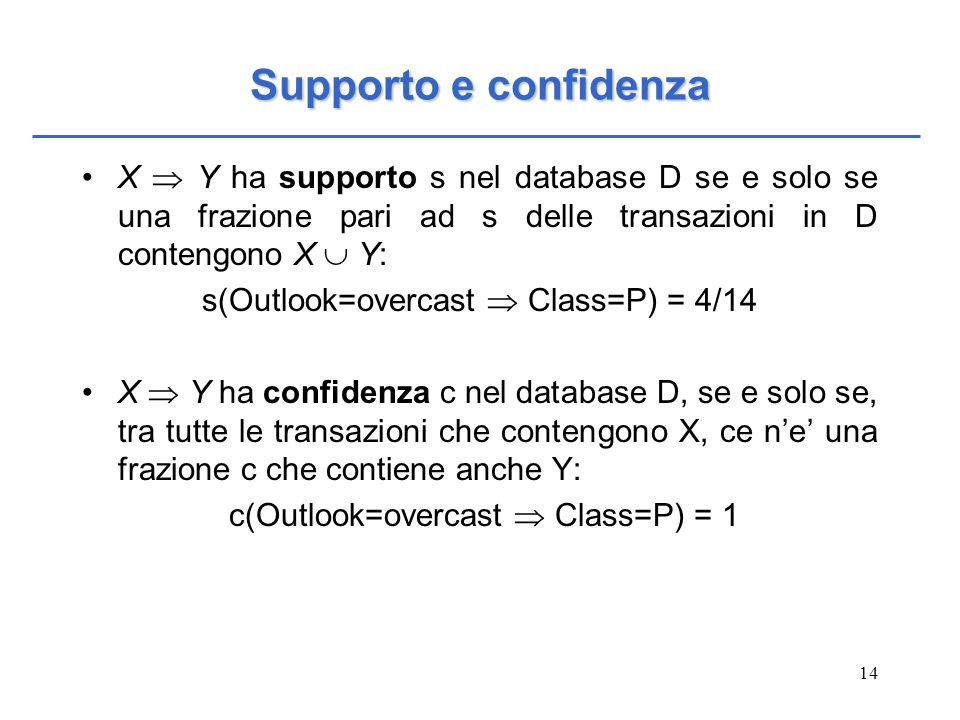 Supporto e confidenza X  Y ha supporto s nel database D se e solo se una frazione pari ad s delle transazioni in D contengono X  Y: