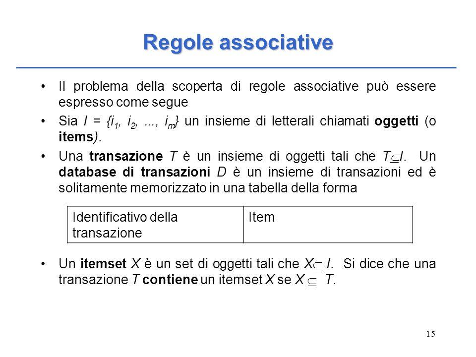 Regole associative Il problema della scoperta di regole associative può essere espresso come segue.