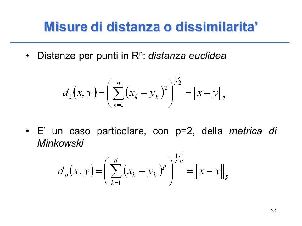 Misure di distanza o dissimilarita'