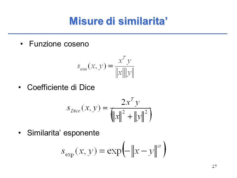 Misure di similarita' Funzione coseno Coefficiente di Dice