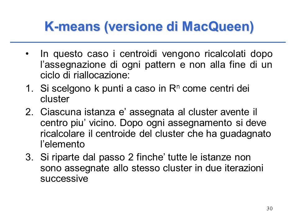 K-means (versione di MacQueen)