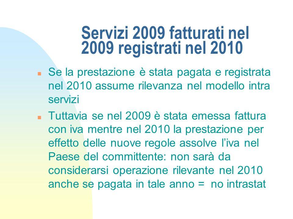 Servizi 2009 fatturati nel 2009 registrati nel 2010