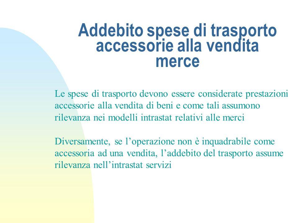 Addebito spese di trasporto accessorie alla vendita merce