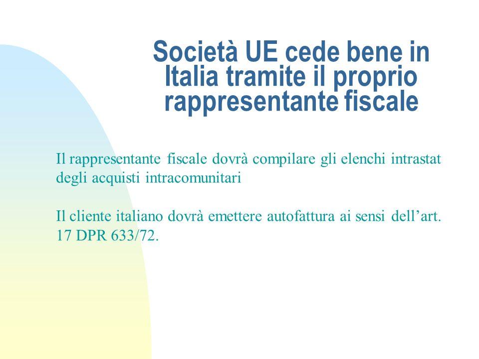 25/03/2017Società UE cede bene in Italia tramite il proprio rappresentante fiscale. Il rappresentante fiscale dovrà compilare gli elenchi intrastat.