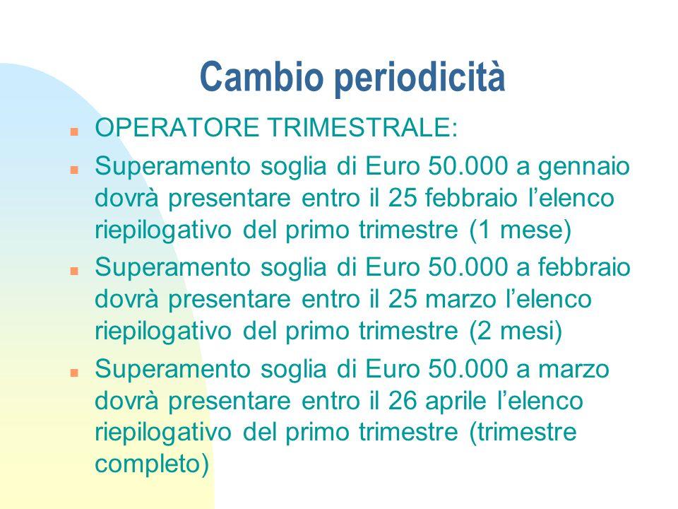 Cambio periodicità OPERATORE TRIMESTRALE: