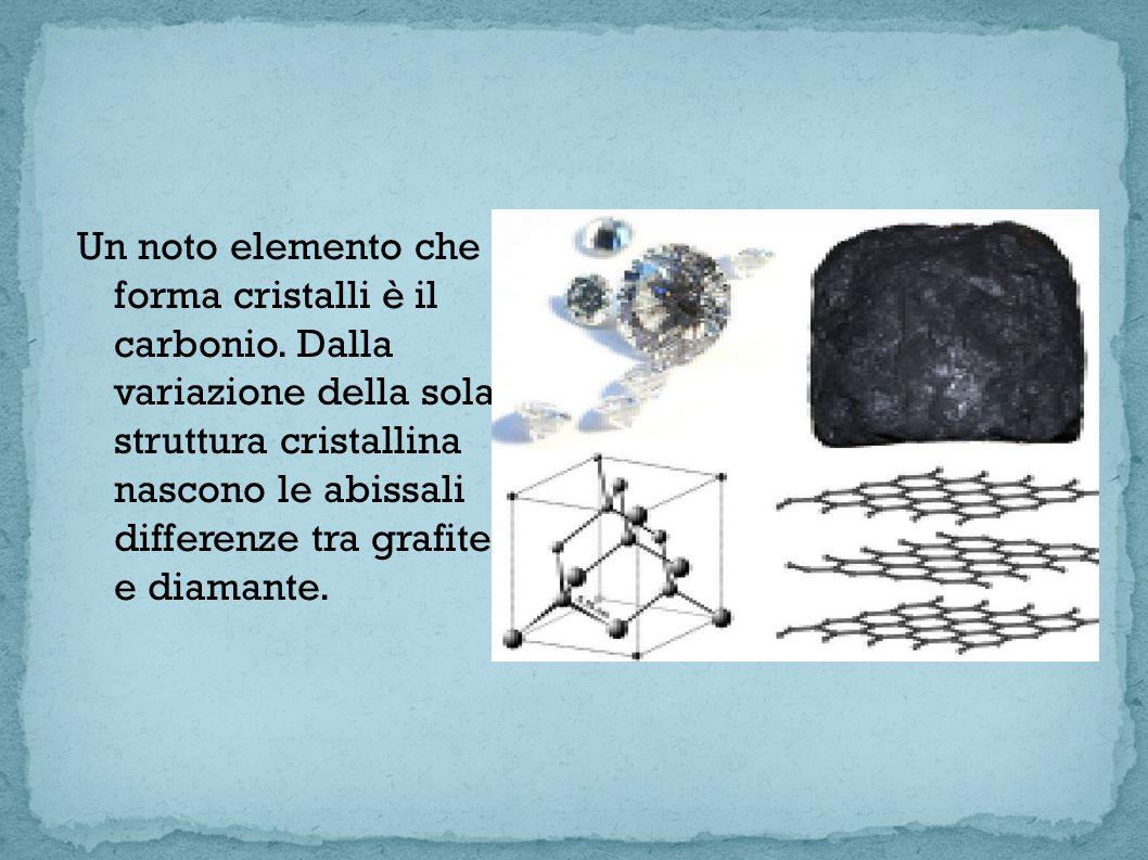 Un noto elemento che forma cristalli è il carbonio