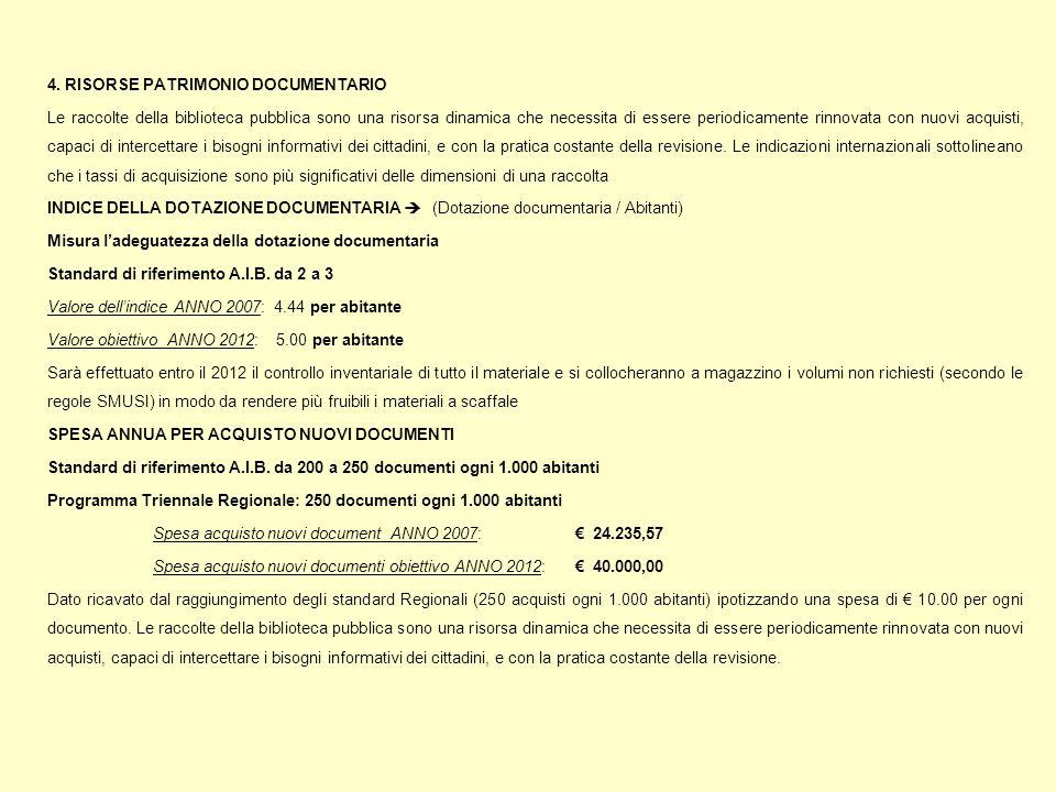 4. RISORSE PATRIMONIO DOCUMENTARIO