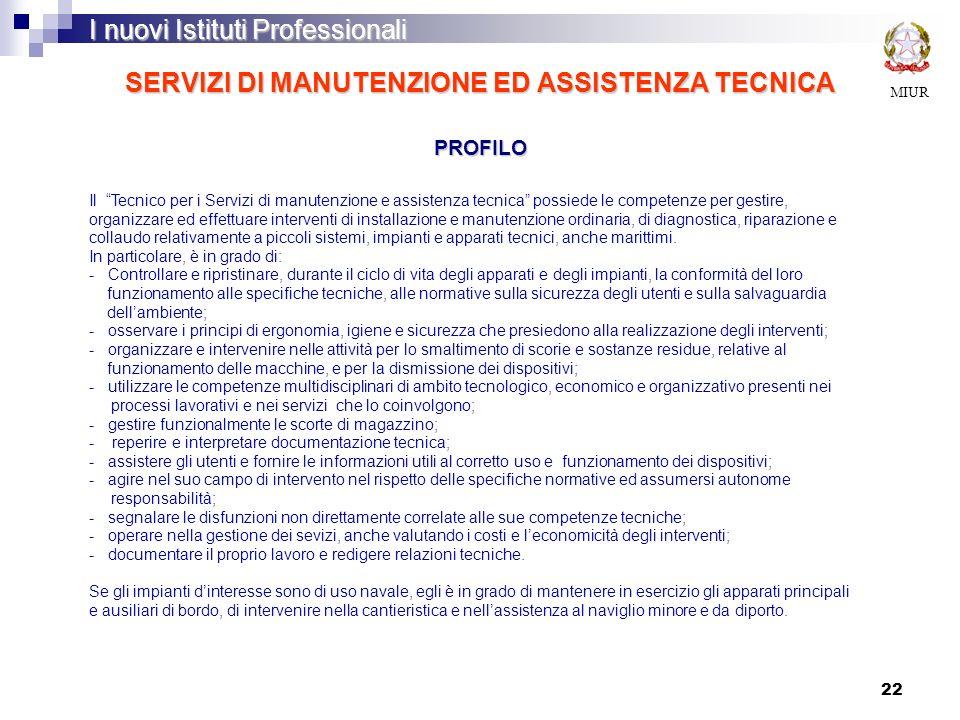 SERVIZI DI MANUTENZIONE ED ASSISTENZA TECNICA PROFILO