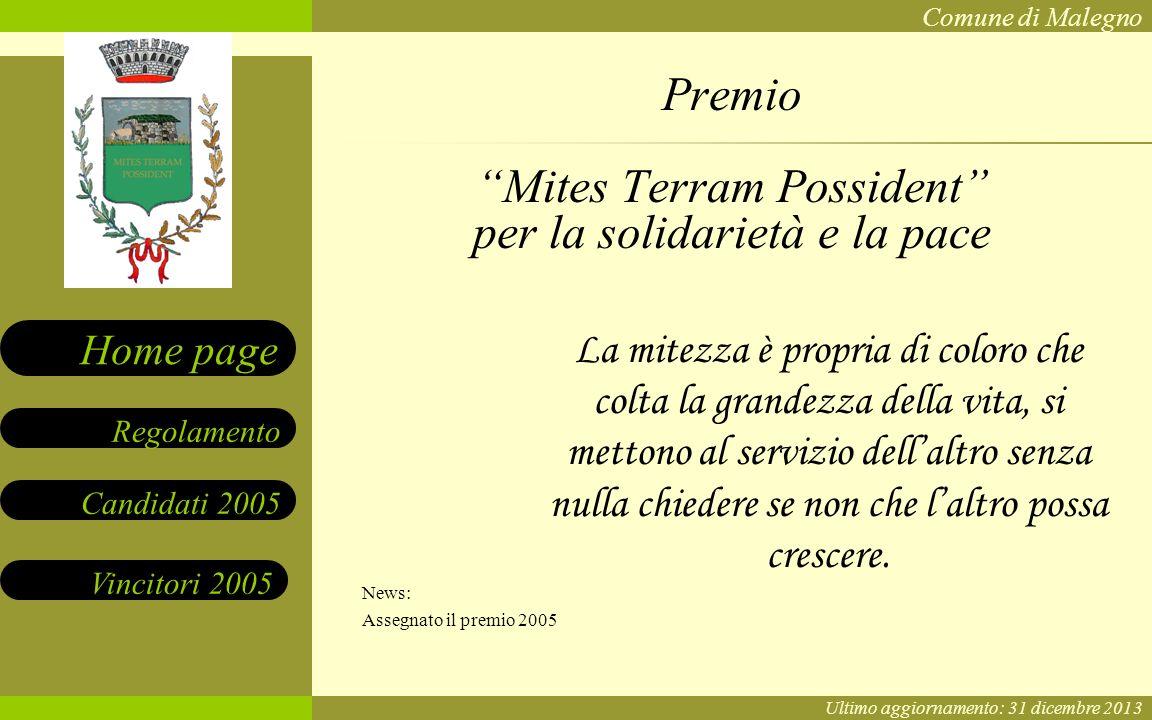 Premio Mites Terram Possident per la solidarietà e la pace