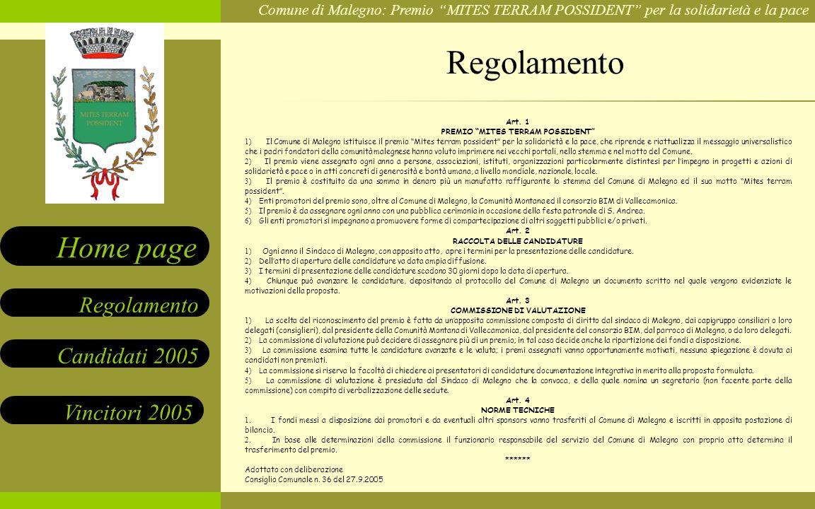 Regolamento Art. 1 PREMIO MITES TERRAM POSSIDENT