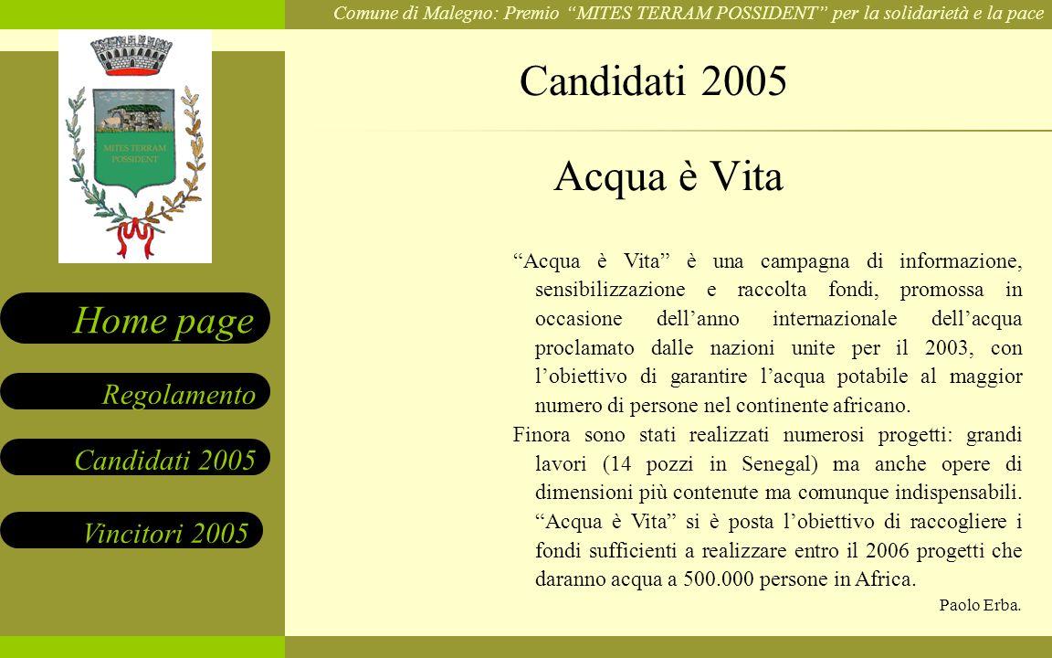 Candidati 2005 Acqua è Vita.