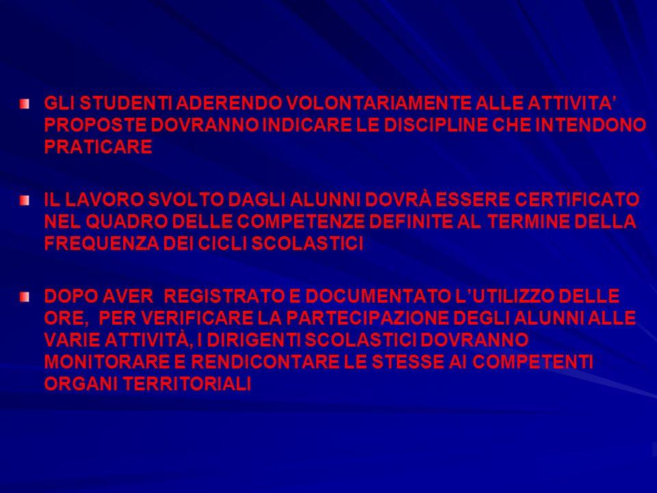 GLI STUDENTI ADERENDO VOLONTARIAMENTE ALLE ATTIVITA' PROPOSTE DOVRANNO INDICARE LE DISCIPLINE CHE INTENDONO PRATICARE