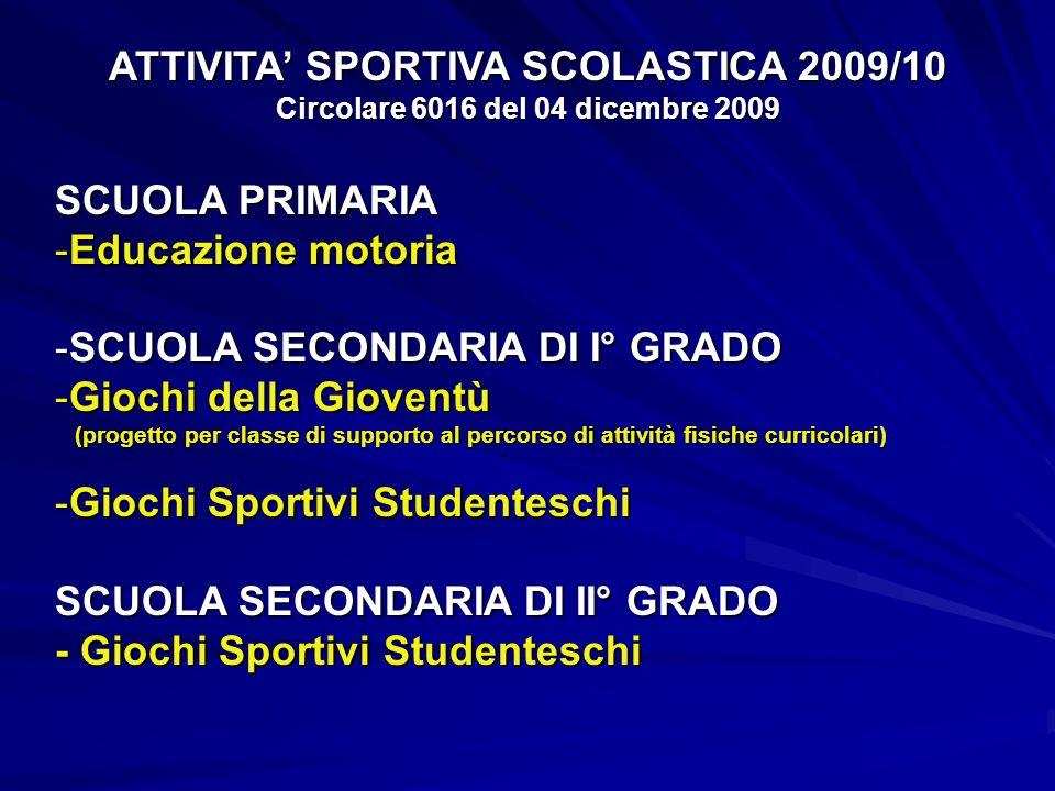ATTIVITA' SPORTIVA SCOLASTICA 2009/10