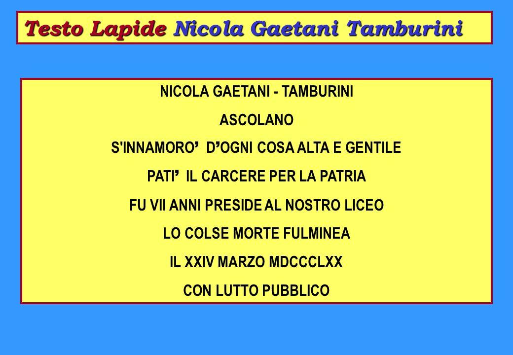 Testo Lapide Nicola Gaetani Tamburini