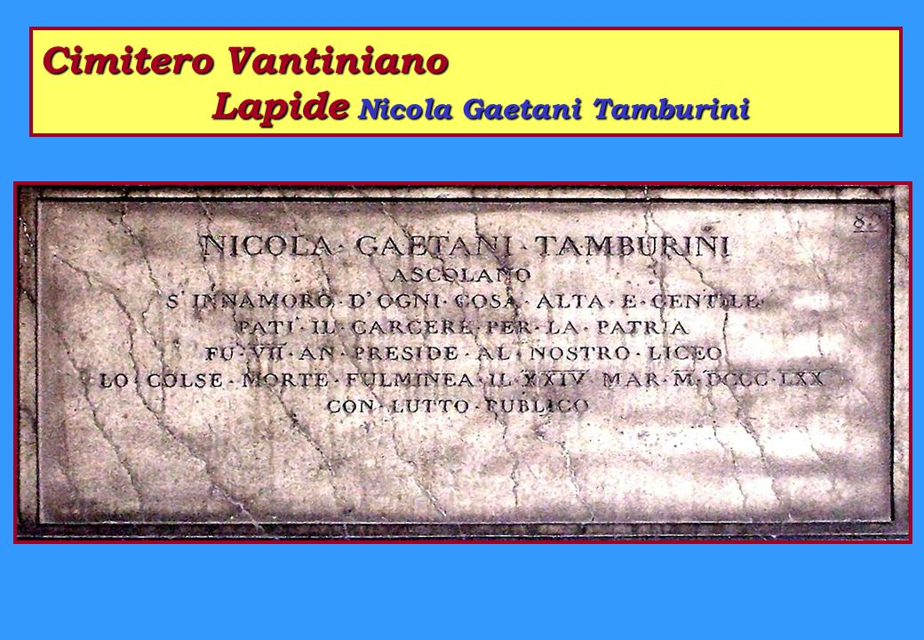 Cimitero Vantiniano Lapide Nicola Gaetani Tamburini