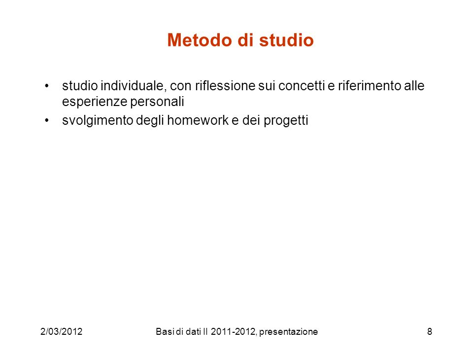 Basi di dati II 2011-2012, presentazione