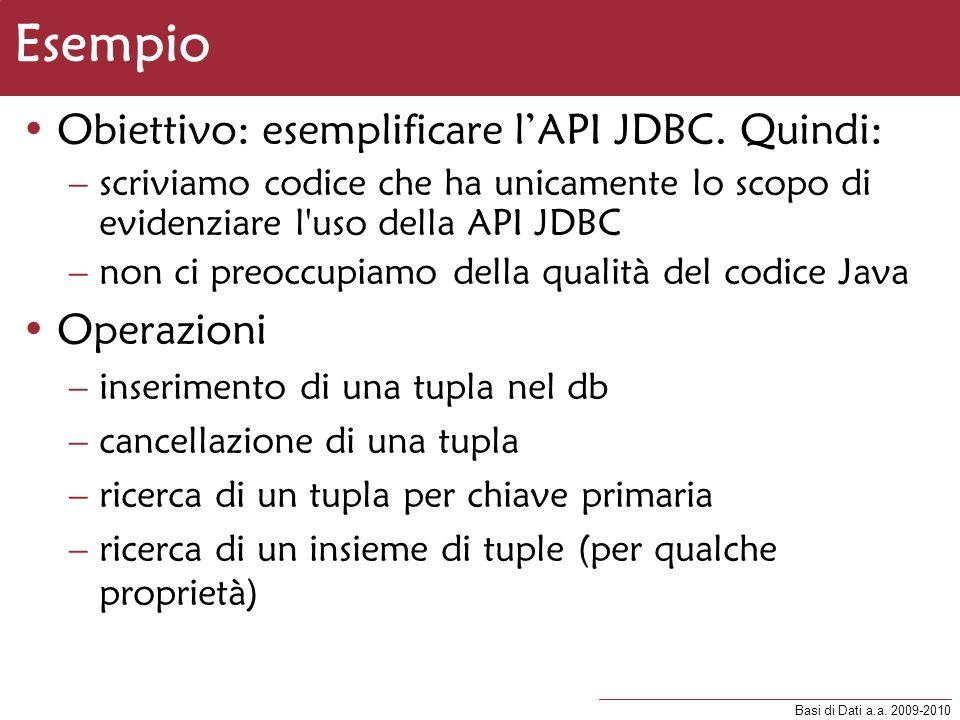 Esempio Obiettivo: esemplificare l'API JDBC. Quindi: Operazioni