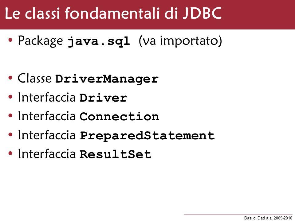 Le classi fondamentali di JDBC
