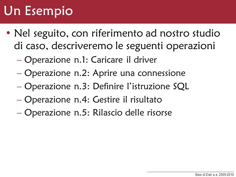 Un Esempio Nel seguito, con riferimento ad nostro studio di caso, descriveremo le seguenti operazioni.
