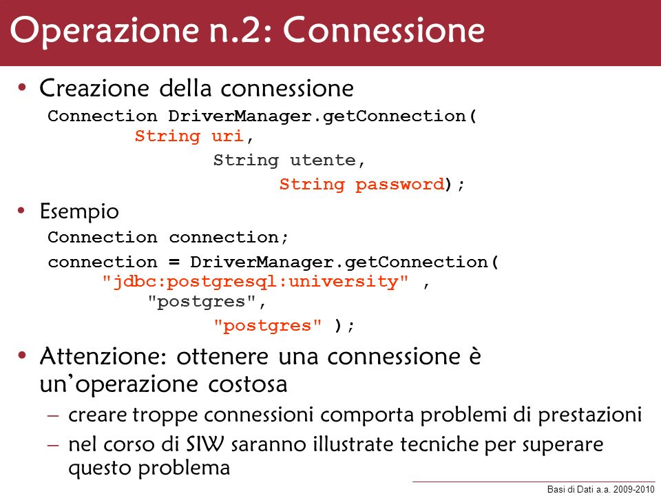 Operazione n.2: Connessione