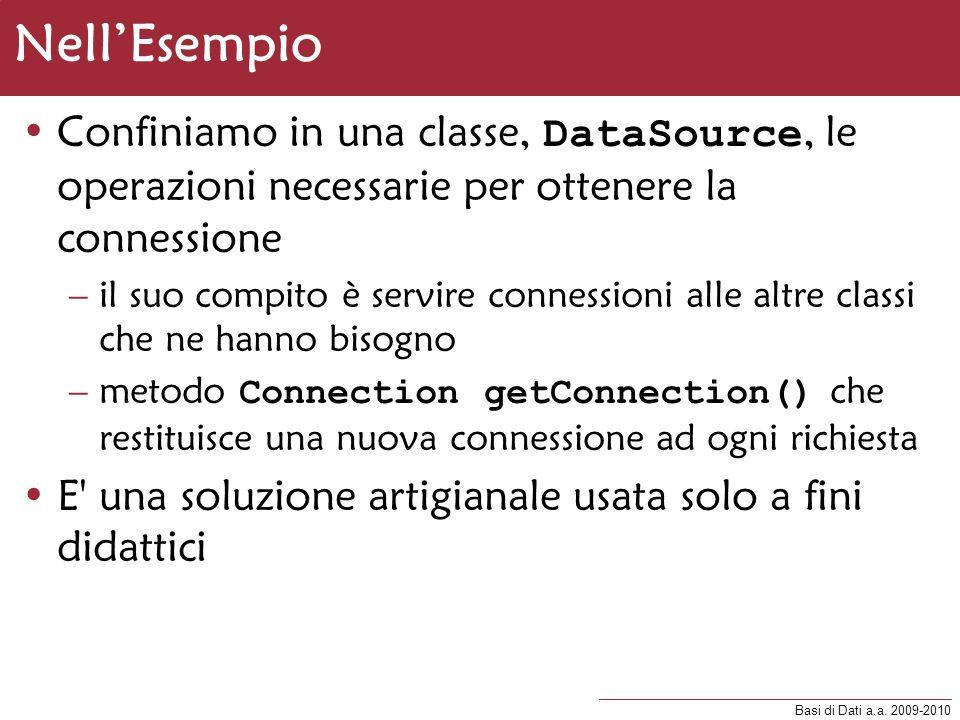 Nell'EsempioConfiniamo in una classe, DataSource, le operazioni necessarie per ottenere la connessione.