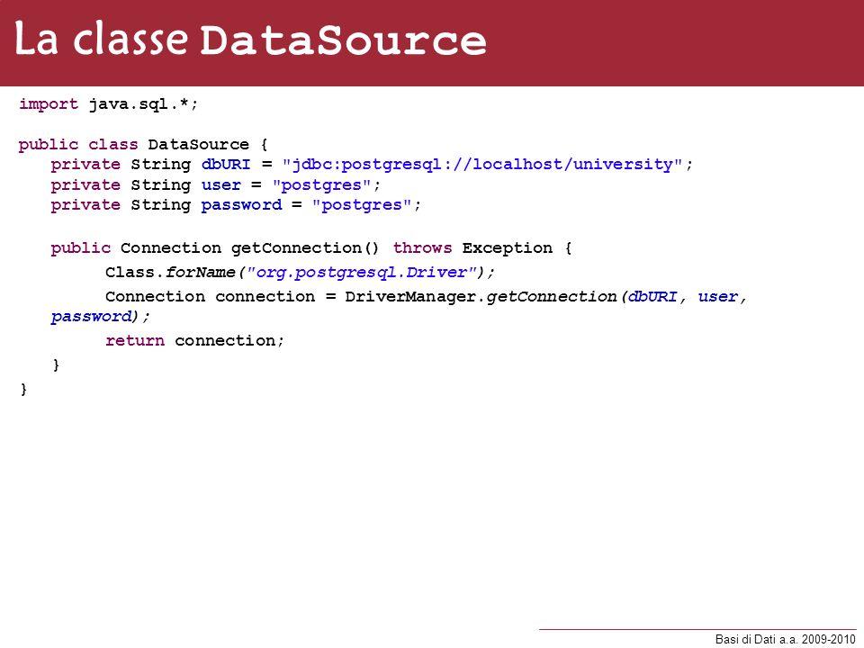 La classe DataSource