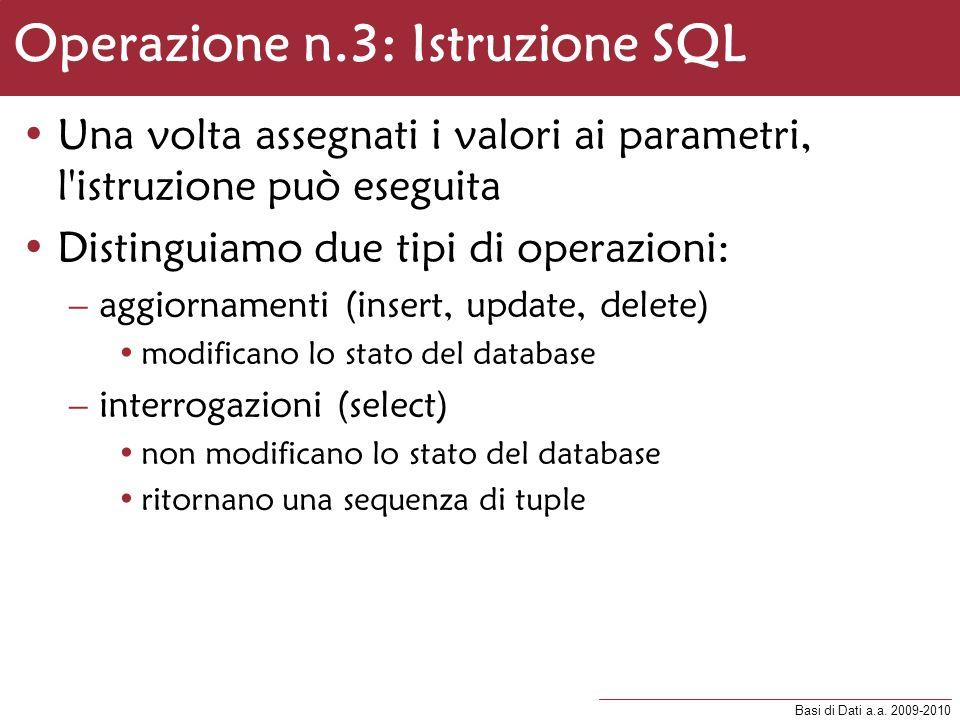 Operazione n.3: Istruzione SQL