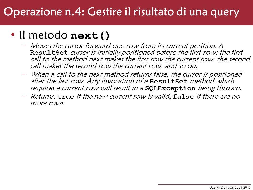 Operazione n.4: Gestire il risultato di una query