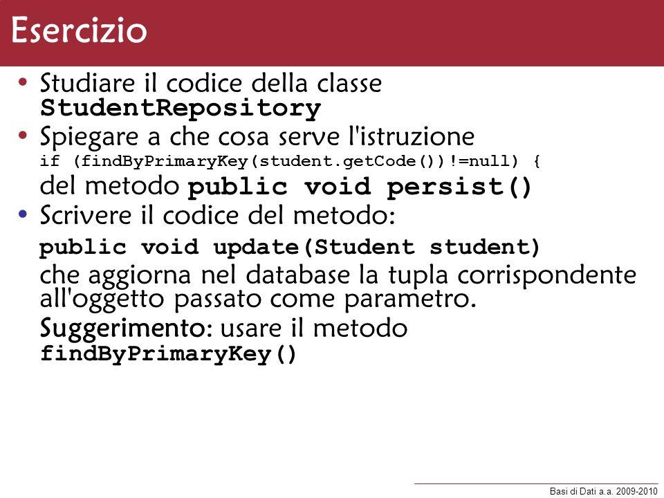 Esercizio Studiare il codice della classe StudentRepository