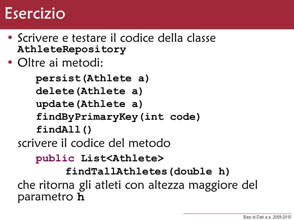 Esercizio Scrivere e testare il codice della classe AthleteRepository