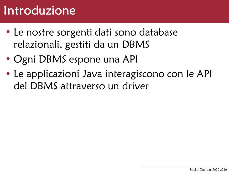 Introduzione Le nostre sorgenti dati sono database relazionali, gestiti da un DBMS. Ogni DBMS espone una API.