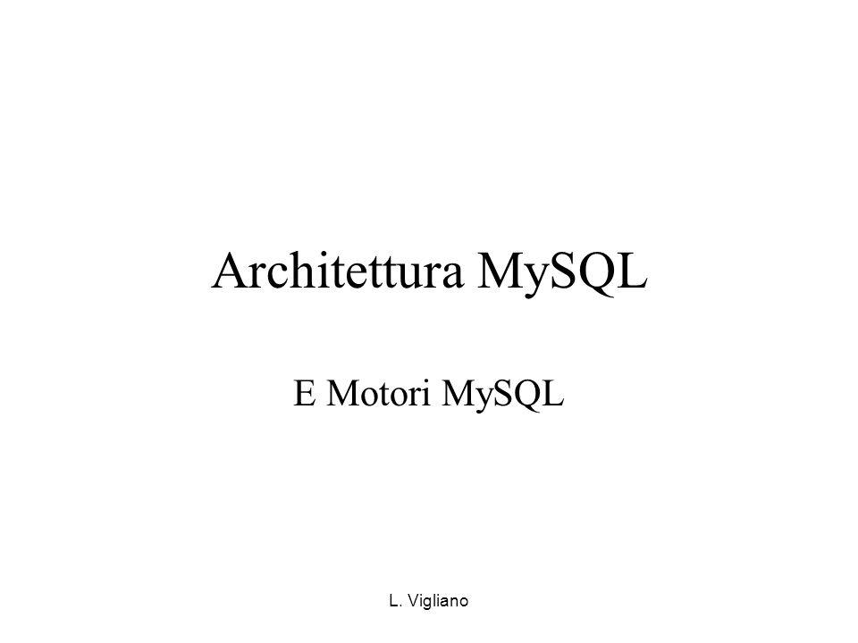 Architettura MySQL E Motori MySQL L. Vigliano