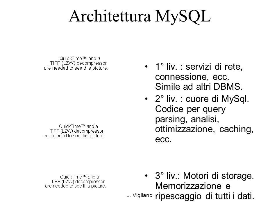 Architettura MySQL1° liv. : servizi di rete, connessione, ecc. Simile ad altri DBMS.