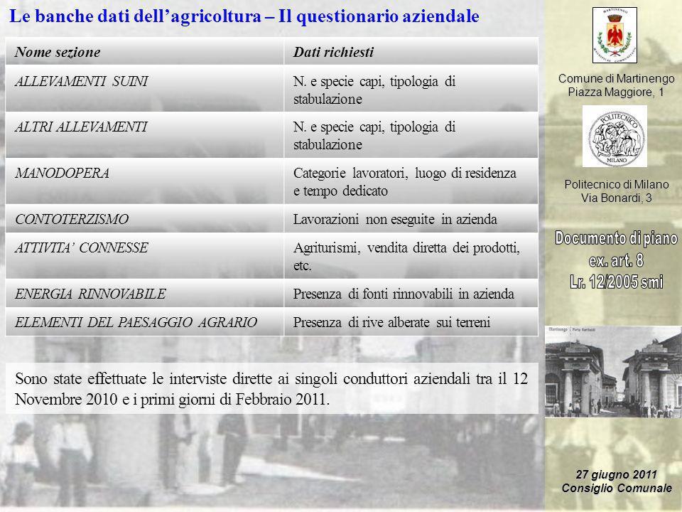 Le banche dati dell'agricoltura – Il questionario aziendale