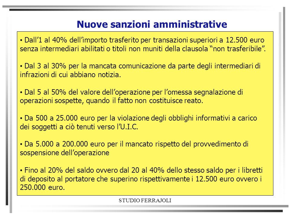 Nuove sanzioni amministrative