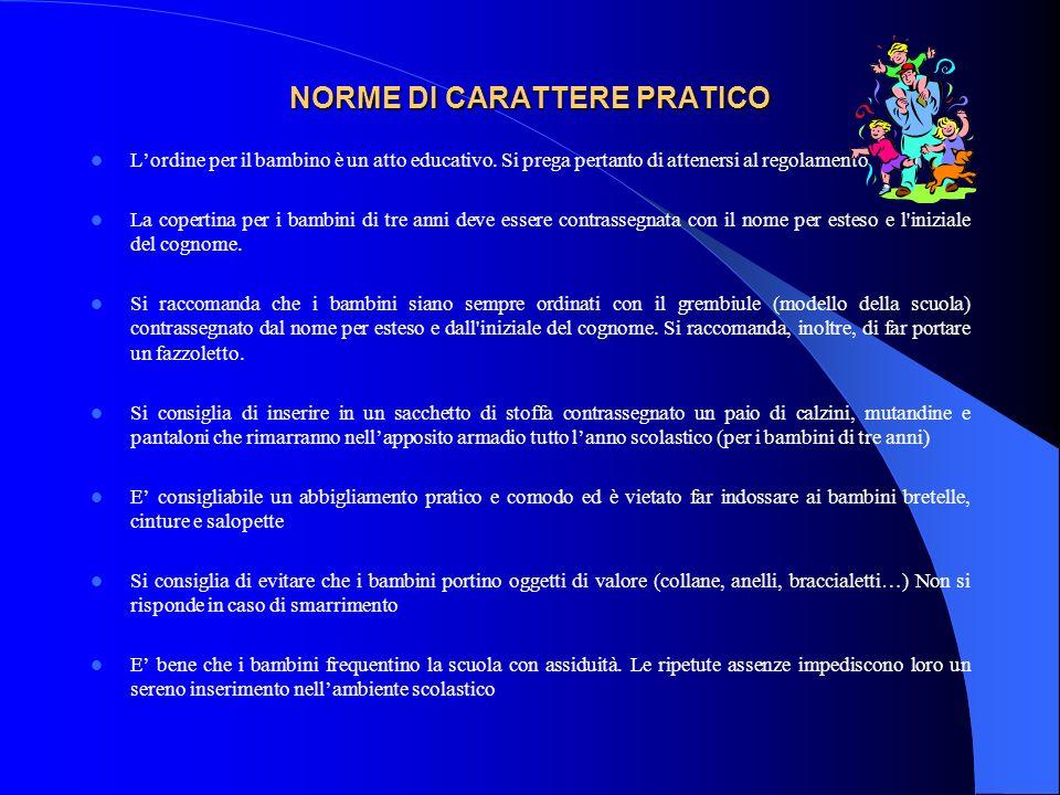 NORME DI CARATTERE PRATICO