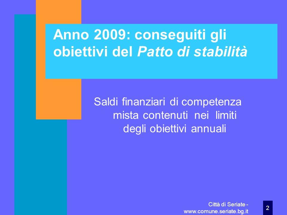 Anno 2009: conseguiti gli obiettivi del Patto di stabilità