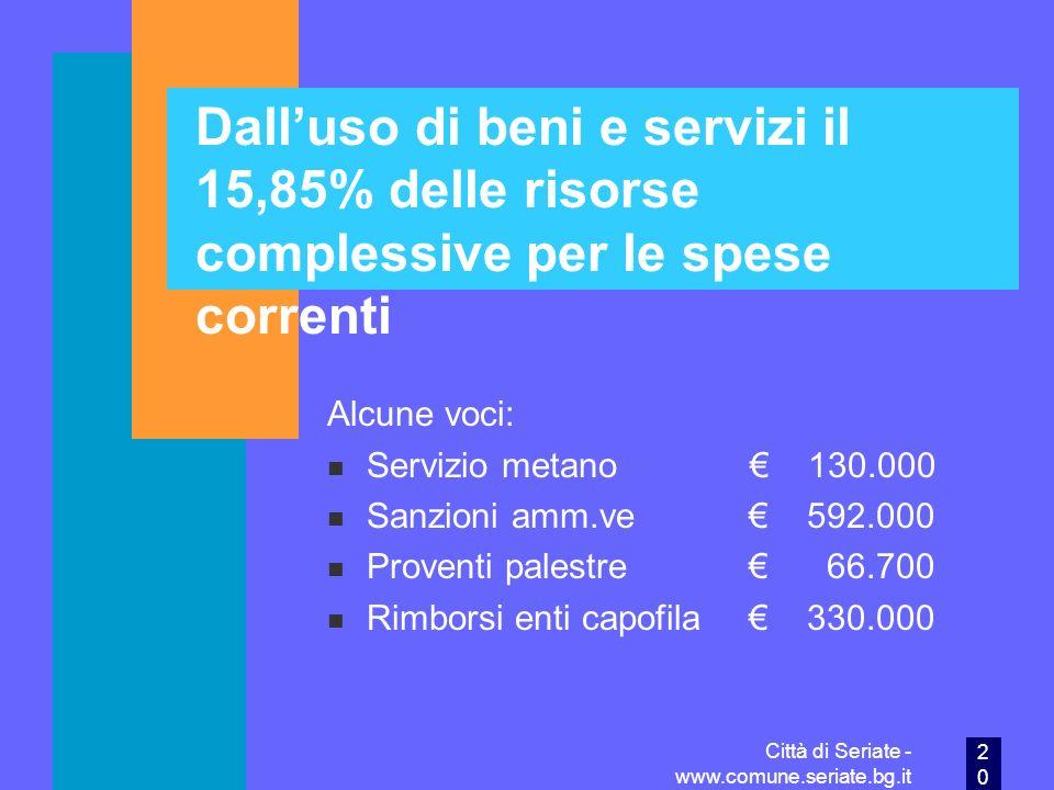 Dall'uso di beni e servizi il 15,85% delle risorse complessive per le spese correnti