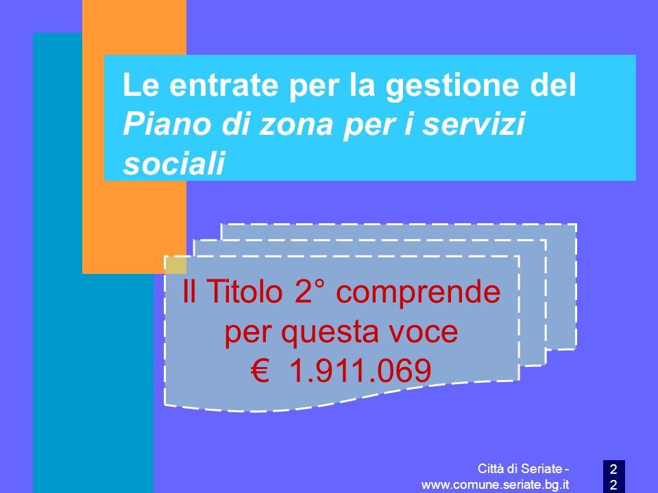 Le entrate per la gestione del Piano di zona per i servizi sociali