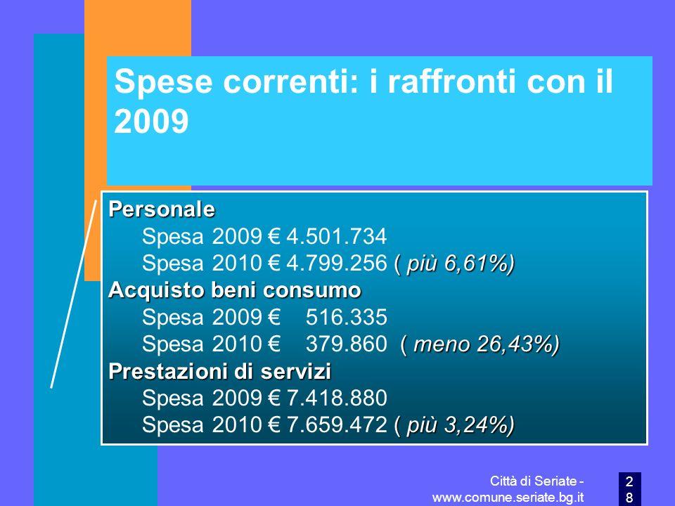 Spese correnti: i raffronti con il 2009