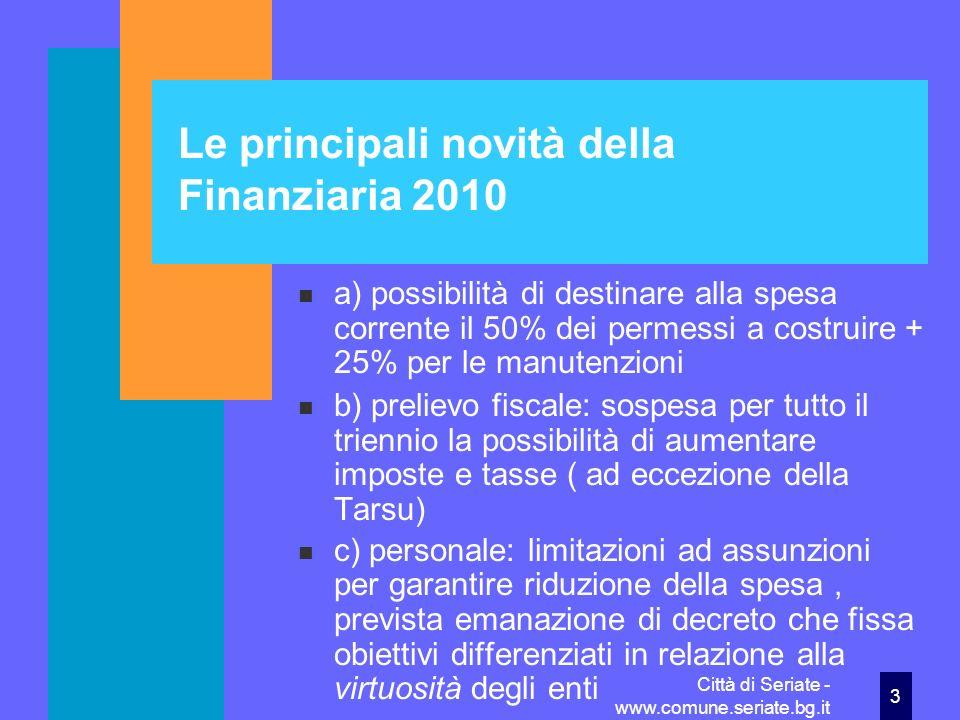 Le principali novità della Finanziaria 2010