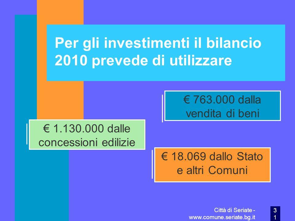 Per gli investimenti il bilancio 2010 prevede di utilizzare
