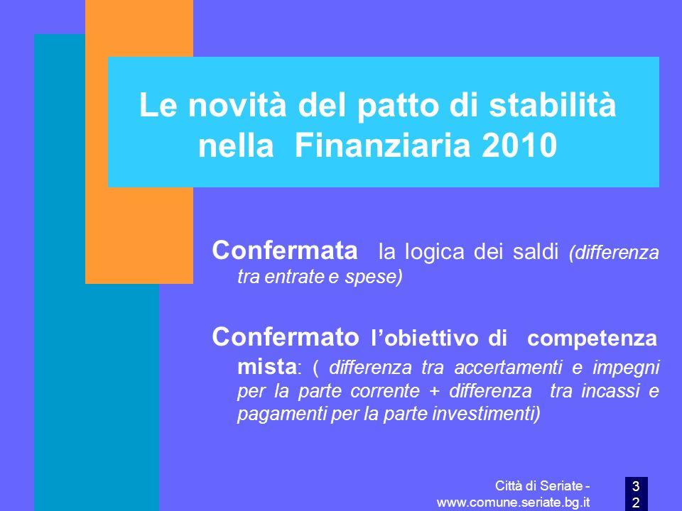 Le novità del patto di stabilità nella Finanziaria 2010