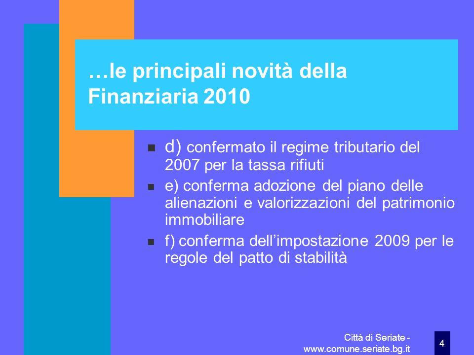 …le principali novità della Finanziaria 2010