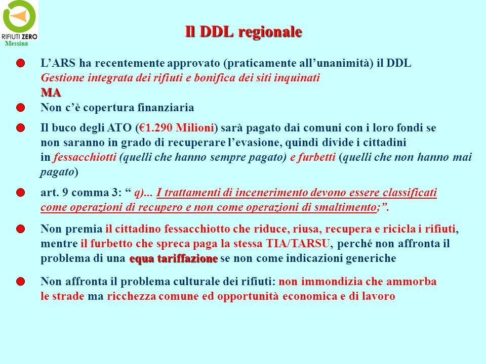 Messina Il DDL regionale. L'ARS ha recentemente approvato (praticamente all'unanimità) il DDL.