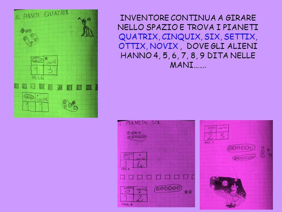 INVENTORE CONTINUA A GIRARE NELLO SPAZIO E TROVA I PIANETI QUATRIX, CINQUIX, SIX, SETTIX, OTTIX, NOVIX , DOVE GLI ALIENI HANNO 4, 5, 6, 7, 8, 9 DITA NELLE MANI…….