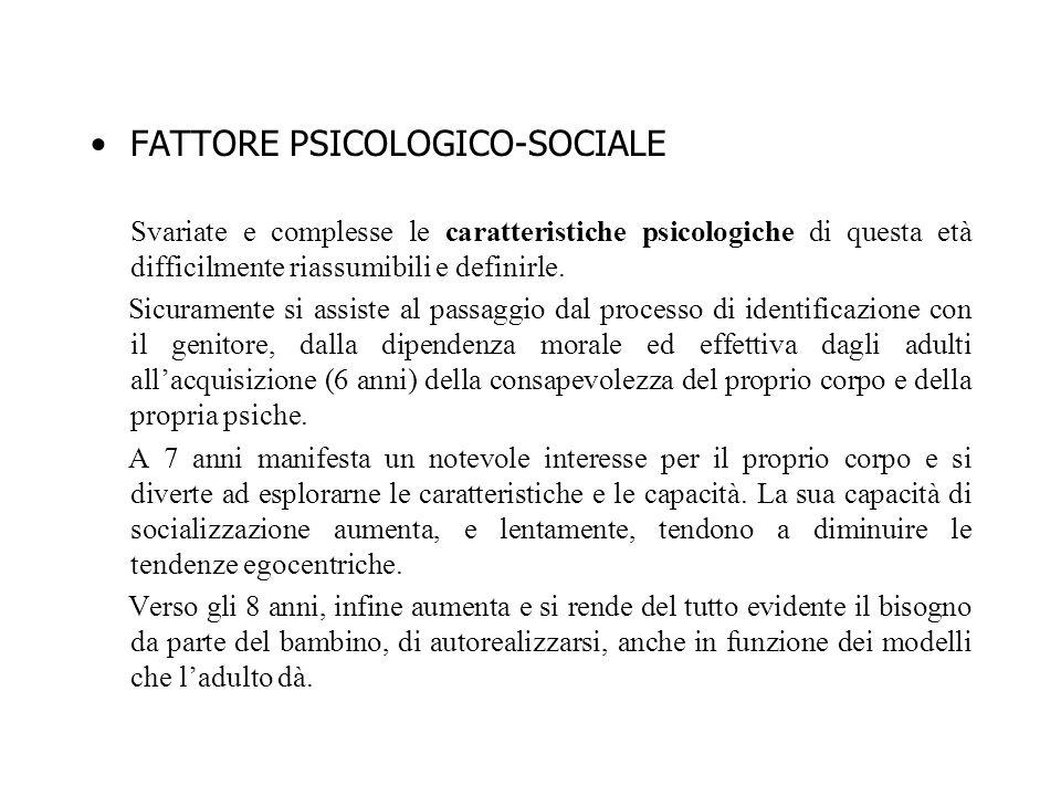 FATTORE PSICOLOGICO-SOCIALE