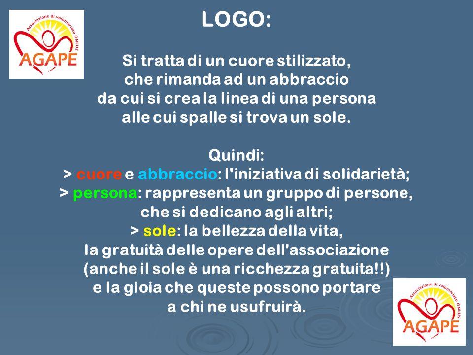 LOGO: Si tratta di un cuore stilizzato, che rimanda ad un abbraccio da cui si crea la linea di una persona alle cui spalle si trova un sole.