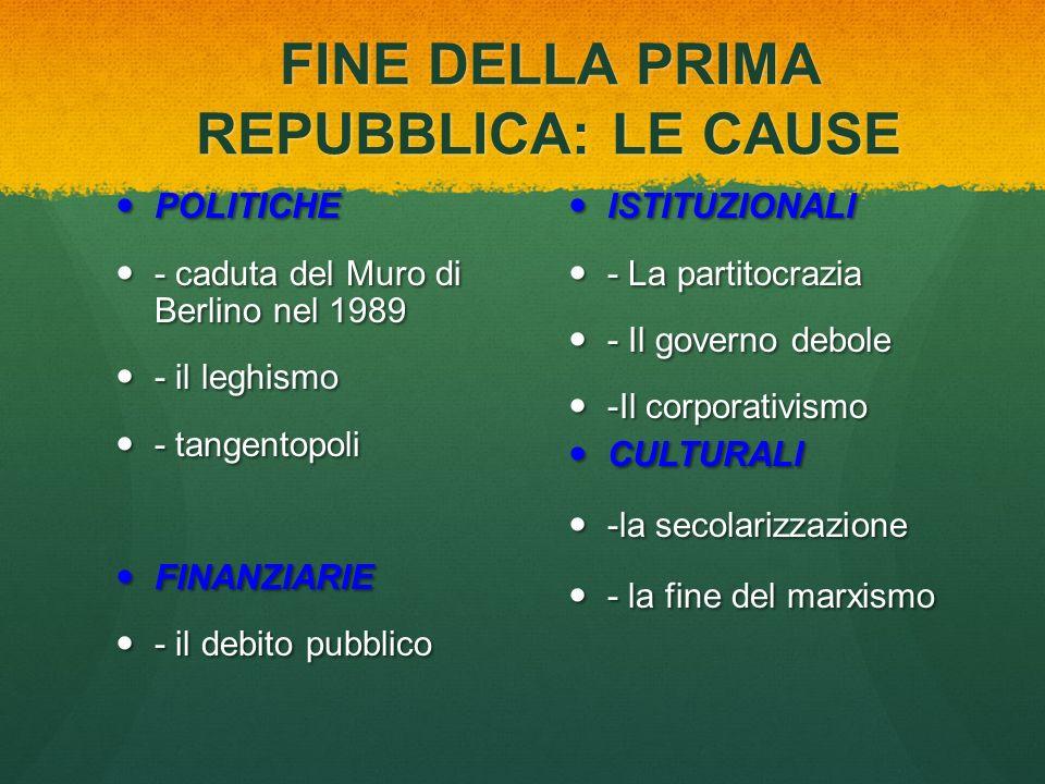 FINE DELLA PRIMA REPUBBLICA: LE CAUSE